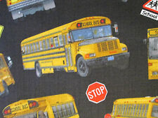 SCHOOL BUS SCHOOL SIGNS BLACK COTTON FABRIC FQ