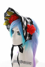 L-214 Gothic LOLITA Checked Lace Bonnet Hairband Schreife Harajuku cosplay Japan