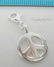 1x STERLING SILVER PEACE CHARM PENDANT for EUROPEAN LOBSTER CLIP ON CHARM #1792