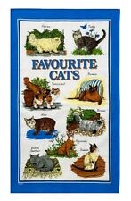 Favourite Cats Cotton Tea Towel Blue Border Tabby Burmese Persian Manx Gift New
