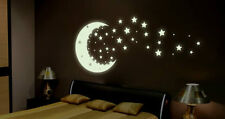 GLOW IN THE DARK MOON AND STARS *Quality Luminescent Sign Vinyl Stickers DECAL*