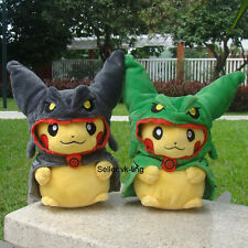 """2X Pikachu With Black Rayquaza Suit 8"""" Pokemon Go Cute Plush Toy Cloak Hat Doll"""