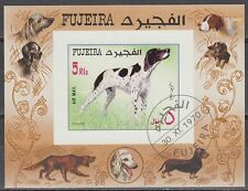 Fujeira 1970 used c.t.o Bl.38 B Tiere Animals Hunde Dogs