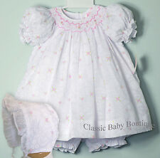 NWT Petit Ami White Floral Overlay Smocked 3pc Bishop Dress Newborn Baby Girls
