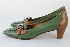 Prada - Green / Brown Leather Pointy Toe Loafer Pump Heels Shoes - Size 36 / 6