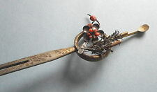 Attravtive Vintage Kanzashi of Coral Plums and Silver Pine Leaves  28g  173-6
