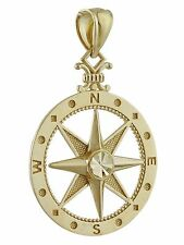 Compass Pendant - 10K Solid Yellow Gold - Pendant Graduation Nautical Charm NEW