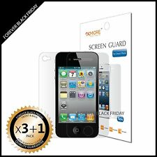 iPhone 4 4S Screen Protector Anti-Scratch Clear 3x Front + 1x Back