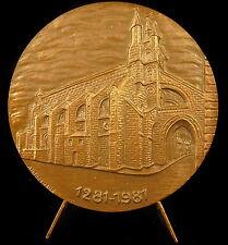 Medaille Ville de Mirande Miranda vue de l'église Sainte-Marie 59mm church medal