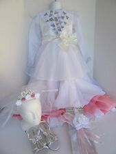 DISNEY PRINCESS DELUXE WEDDING BRIDAL GOWN COMPLETE COSTUME GIRLS SIZE 7-8