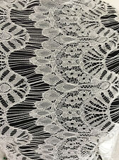 Ivory Cream Filigree Art Deco Style Non Stretch Lace Dressmaking Fabric SS-2017