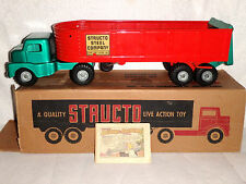 Vintage 1956 Structo Steel Tractor Trailer Toy Truck w/Rare Structoland Booklet