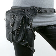 PU Leather Waist Fanny Leg Bag Motorcycle Rider Punk Rock Messenger Pack
