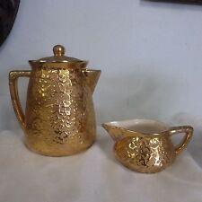 Vintage McCOY Sunburst Golden Brocade Teapot w/ Lid & Creamer Gold 24K