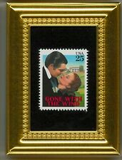 GONE WITH THE WIND CLARK GABLE SCARLETT GLASS FRAMED POSTAGE STAMP MASTERPIECE!