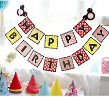 Mickey Happy Birthday Party Banner/Bunting Flags Dessert Table Decoration
