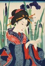 WOMAN MAKING ORIGAMI CRANE, FROM PRINT BY KAWANABE KYOSAI, JAPANESE ART, MAGNET