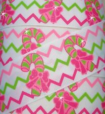 1.5 CHRISTMAS GLITTER CHEVRON CANDY CANE LIME PINK GROSGRAIN RIBBON 4 HAIRBOW