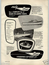 1955 PAPER AD Lawrence Plycraft Boats The Glassclad Fiberglass Reinforced 16'
