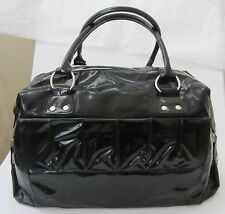 Lancome Black Patent East West Zippered Tote Bag pleated pocket silver hardware