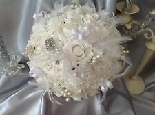 White Rose Vintage Pearl Feather Brooch Wedding Flowers, Bride Round Bouquet