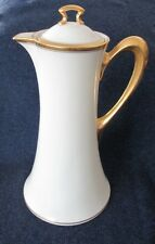 "Lenox ""The Vondel"" Tall Chocolate Coffee Pot- Ivory & Gold, Green Stamp"