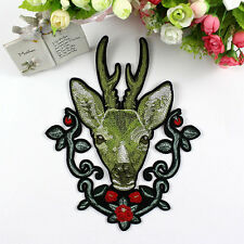 Embroidered Sew-On Patches for Clothing Sequins Deer Flower DIY Motif Applique