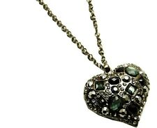 Heart necklace black smokey grey diamante rhinestone long chain sparkly bling
