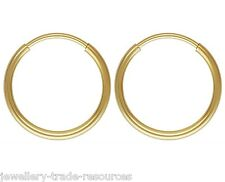 1x paire 14mm 14ct gold filled round hoop sleeper earrings