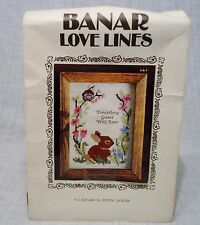 Vintage Banar Love Lines Cross Stitch Kit w/ Bunny Everything Grows with Love