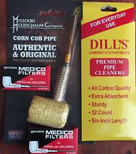"Missouri Meerschaum ""Straight"" Corn Cob Pipe Dill's Cleaners & Medico Filters"