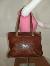 Marino Orlandi Large Brown Leather Flower Tooled Tote Shoulder Bag Handbag Purse