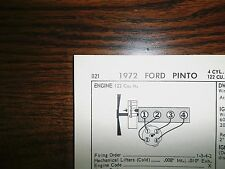 1972 Ford Pinto 86 HP OHV 122 CI (2000cc) L4 SUN Tune Up Chart Great Shape!