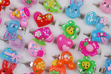 Wholesale Lots 20pcs Assorted Colors Rhinestone Top Resin Child's Lovely Rings