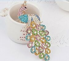 Crystal Golden Color 3D Colorful Peacock Chain Charm Pendant Keychain Key Ring