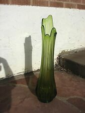 "VTG Large VIKING Green GLASS Floor VASE 23"" Swung Pulled Stretched MID CENTURY"