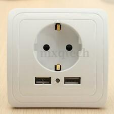 2.0A Dual 2 USB Wall Charger Adapter Power Outlet Panel EU Plug Wall Socket 16A