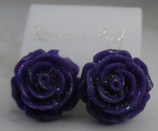 NEW Beautiful Fashion Pierced Ear Purple Plastic Rose Flower Glitter Earrings