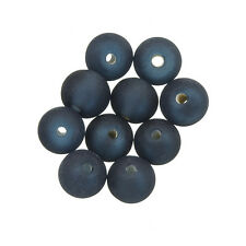 Transparent Frosted Round Glass Bead Dark Blue 8mm Pack of 10 (A37/6)