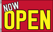 NOW OPEN Red & Yellow Advertising Flag 3x5 ft Sign Grand Opening New Business