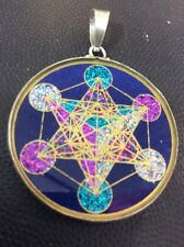 "Metatron's Cube 1.5"" Medallion Pendant Lapis Lazuli Sterling Silver Mystic #Gift"