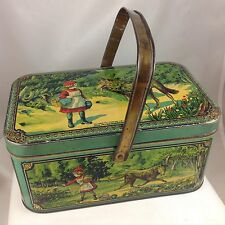 LITTLE RED RIDING HOOD CANDY TIN c1920 FRANCE CHAPERON ROUGE LUNCHBOX