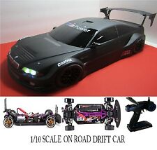 1/10 Scale BMW M3 RTR Custom RC Drift Cars 4WD 2.4Ghz & Charger FLAT BLK