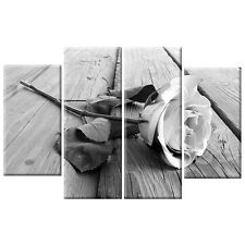 Black & White Rose Floral  Flower Canvas XL Wall Art Picture 4 Panel Love Gift