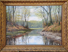"""Forest Pond"" oil on canvas, Danish artist Harald Wentzel"