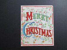 #K629- Vintage Xmas Greeting Card Holly Berry Garland and Holiday Decorations