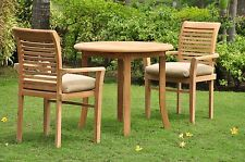 3 PC DINING TEAK SET GARDEN OUTDOOR PATIO FURNITURE POOL - MASC STACKING M06