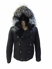 Genuine Shearling Aviator Double Breasted Mens Jacket with fox Fur Hood Size XXL