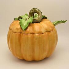 Fitz & Floyd Pumpkin Tureen Vegetable Garden 5 QT Lidded Soup with Ladle EUC