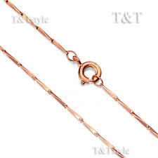 TTstyle 0.8mm 9K Rose Gold Filled Bamboo Link Chain Necklace NEW
